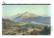 Drover On Horseback With His Cattle In A Mountainous Landscape With Schloss Anif Salzburg And Beyond Carry-all Pouch