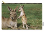 Eastern Grey Kangaroo And Joey Carry-all Pouch