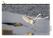 Egret Being Chased By Alligator Carry-all Pouch