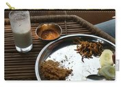 Enjoying A Plate Of Rajasthani Food On A Steel Plate On A Bamboo Table Carry-all Pouch