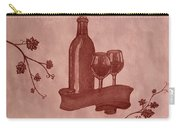 Enjoying Red Wine  Painting With Red Wine Carry-all Pouch by Georgeta  Blanaru