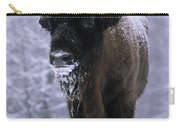 European Bison Bison Bonasus In Snow Carry-all Pouch