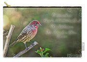 Evening Finch Greeting Card With Verse Carry-all Pouch