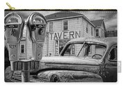 Expired A Black And White Photograph Of A Tavern Parking Meters And Vintage Junk Auto Carry-all Pouch