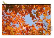 Fall Leaves Art Prints Autumn Red Orange Leaves Blue Sky Carry-all Pouch