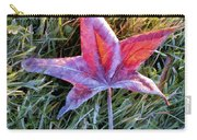 Fallen Autumn Leaf In The Grass During Morning Frost Carry-all Pouch