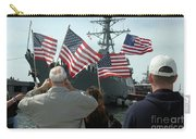 Family Members Wave Flags To Show Carry-all Pouch