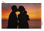 Family Silhouettes At Sunset Carry-all Pouch