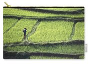 Farmer In Rice Paddy, Elevated View Carry-all Pouch