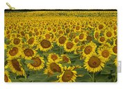 Field Of Domestic Sunflowers Carry-all Pouch by Kenneth M Highfill and Photo Researchers