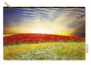 Floral Field On Sunset Carry-all Pouch by Setsiri Silapasuwanchai