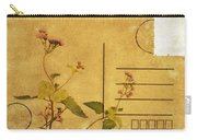 Floral Pattern On Postcard Carry-all Pouch
