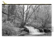 Forest Creek Waterfall In Black And White Carry-all Pouch