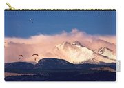 Four Skydivers With Longs Peak And Mount Meeker Rocky Mountain H Carry-all Pouch