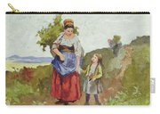 French Peasants On A Path Carry-all Pouch by Daniel Ridgway Knight