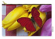 Fresh Tulips And Red Butterfly Carry-all Pouch by Garry Gay