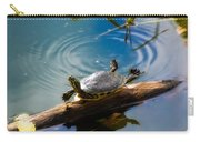 Funny Turtle Catching Some Rays Carry-all Pouch