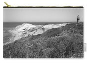 Gay Head Lighthouse With Aquinna Beach Cliffs - Black And White Carry-all Pouch