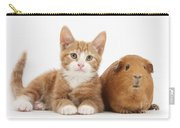 Ginger Kitten With Red Guinea Pig Carry-all Pouch