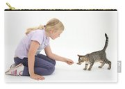 Girl Feeding Kitten From A Spoon Carry-all Pouch by Mark Taylor