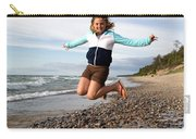 Girl Jumping At Lake Superior Shore Carry-all Pouch
