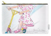 Girl On A Microscooter Cartoon Carry-all Pouch
