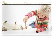 Girl Playing With Cat Carry-all Pouch