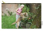 Girl Playing With Dog Carry-all Pouch