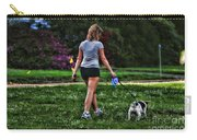 Girl Walking Dog Carry-all Pouch by Paul Ward