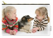 Girls And Shetland Sheepdog Carry-all Pouch