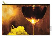 Glass Of Wine And Green Grapes By Candlelight Carry-all Pouch by Elaine Plesser