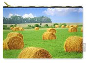 Golden Hay Bales In Green Field Carry-all Pouch