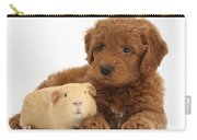 Goldendoodle Puppy And Guinea Pig Carry-all Pouch