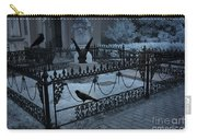 Gothic Surreal Night Gargoyle And Ravens - Moonlit Cemetery With Gargoyles Ravens Carry-all Pouch