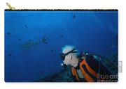 Gray Reef Shark With Diver, Papua New Carry-all Pouch by Steve Jones