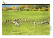 Grazing Sheep On Farm In Autumn Maine Carry-all Pouch