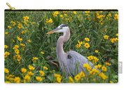 Great Blue Heron In The Flowers Carry-all Pouch