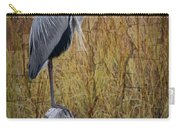 Great Blue Heron On Spool Carry-all Pouch by Debra and Dave Vanderlaan