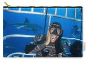 Great White Shark Behind Frightened Carry-all Pouch