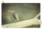 Green Heron On A Log Carry-all Pouch