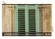Green Shutters And Balcony In Verona Carry-all Pouch