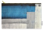 Straight Forward - Teal And Grey Abstract Art Painting Carry-all Pouch