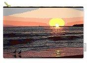 Gulls Enjoying Beach At Sunset Carry-all Pouch