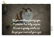 Halloween Calico Cat And Poem Greeting Card Carry-all Pouch