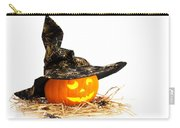 Halloween Pumpkin With Witches Hat Carry-all Pouch