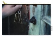 Hand Putting Vintage Key Into Lock Carry-all Pouch