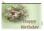 Happy Birthday Greeting Card - Ladybug On Dried Queen Anne's Lace Carry-all Pouch