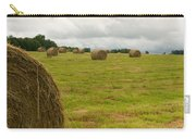 Haybales In Field On Stormy Day Carry-all Pouch