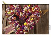 Heart Wreath With Weather Vane Arrow Carry-all Pouch