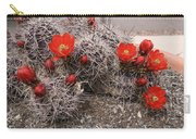 Hedgehog Cactus With Red Blossoms Carry-all Pouch